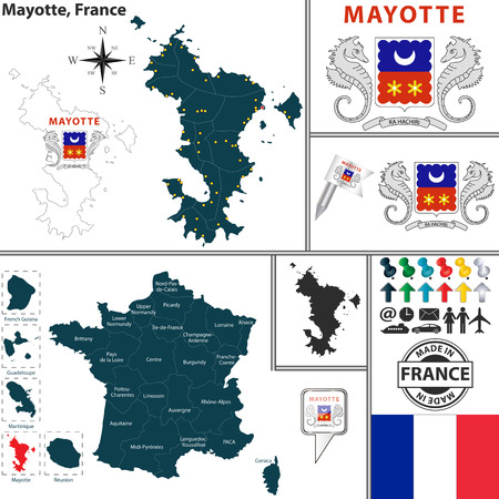 mayotte: map of state Mayotte with coat of arms and location on France map Illustration