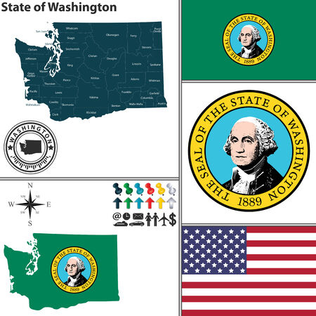 seattle: set of Washington state with flag and icons on white background