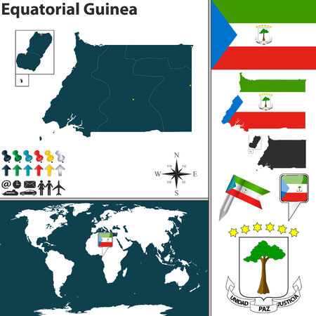 guinea equatoriale: Vettore di Guinea Equatoriale set con forma dettagliata paese con i confini della regione, bandiere e icone