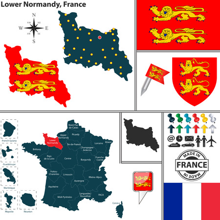 basse normandy: Vector map of state Lower Normandy with coat of arms and location on France map