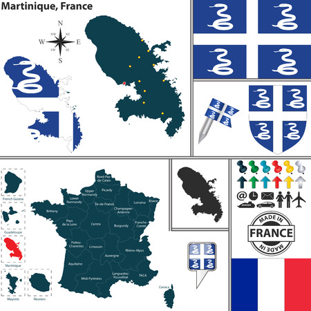martinique: Vector map of state Martinique with coat of arms and location on France map