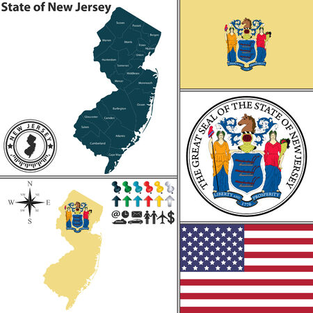 jersey: Vector set of New Jersey state with flag and icons on white background