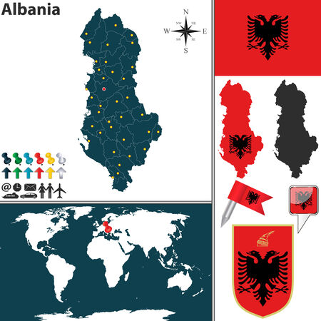 Vector map of Albania with regions, coat of arms and location on world map Vector