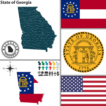 georgia flag: Vector set of Georgia state with flag and icons on white background