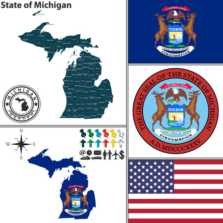 Vector set of Michigan state with seal and icons on white background