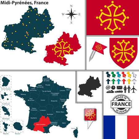 toulouse: Vector map of state Midi-Pyrenees with coat of arms and location on France map Illustration
