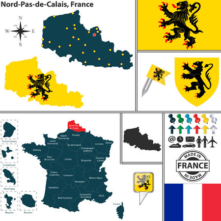 lille: Vector map of state Nord-Pas-de-Calais with coat of arms and location on France map Illustration