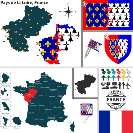 pays: Vector map of state Pays de la Loire with coat of arms and location on France map