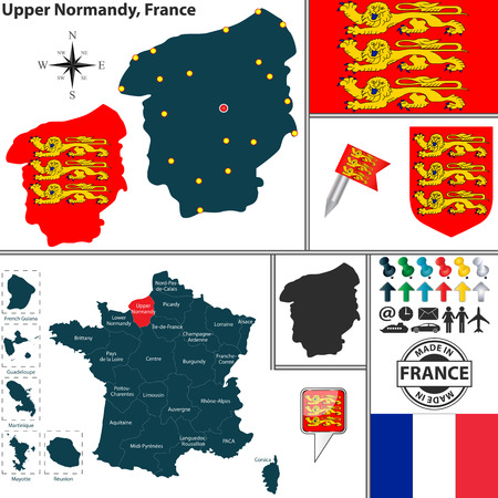 normandy: Vector map of state Upper Normandy with coat of arms and location on France map