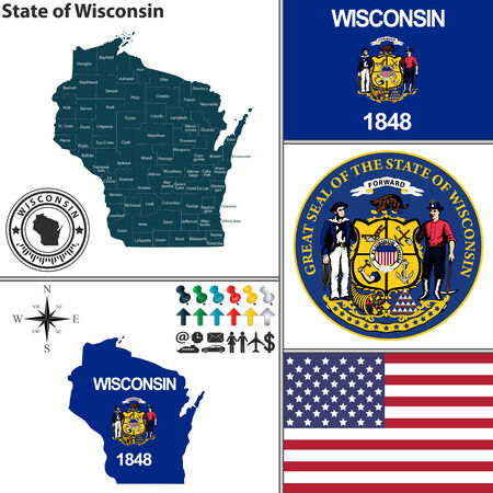 wisconsin flag: Vector set of Wisconsin state with seal and icons on white background