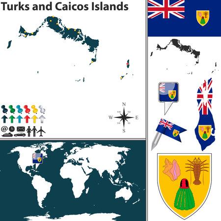 turks: Vector mapa de Islas Turcas y Caicos con el escudo de armas y la ubicaci�n en el mapa mundial Vectores