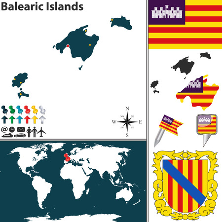 map of Balearic Islands with coat of arms and location on world map