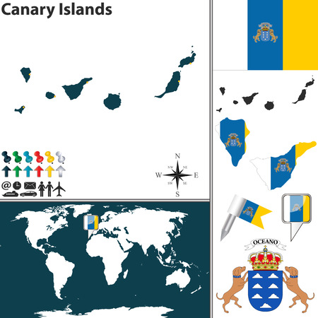 canary islands: map of Canary Islands with coat of arms and location on world map Illustration