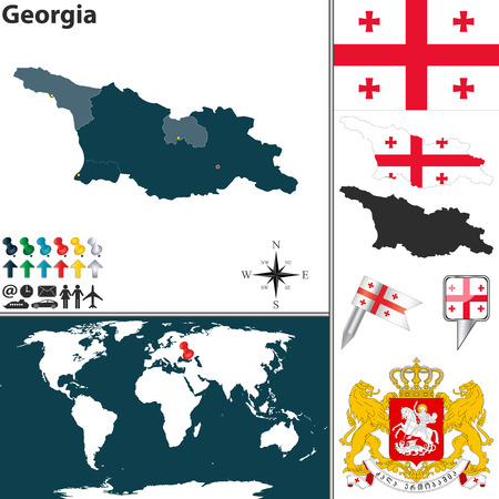georgia flag: map of Georgia with regions, coat of arms and location on world map