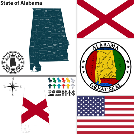 birmingham: set of Alabama state with flag and icons on white background