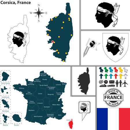 corsica: map of state Corsica with coat of arms and location on France map