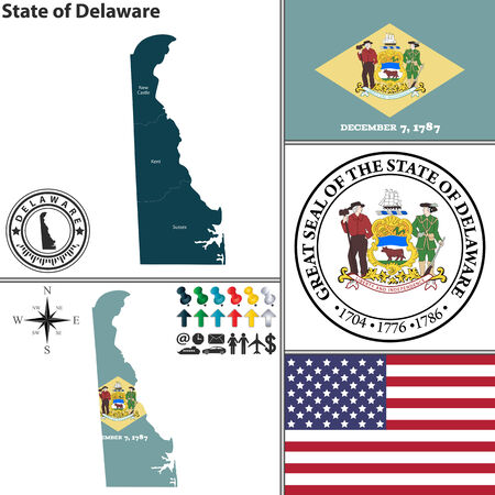 dover: set of Delaware state with flag and icons on white background