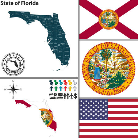 set of Florida state with flag and icons on white background