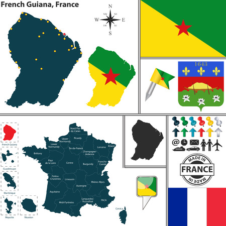guiana: map of state French Guiana with coat of arms