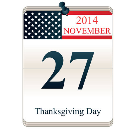 Calendar of Thanksgiving Day with American flag Vector