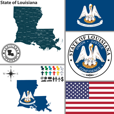 louisiana flag: set of Louisiana state with seal and icons on white background