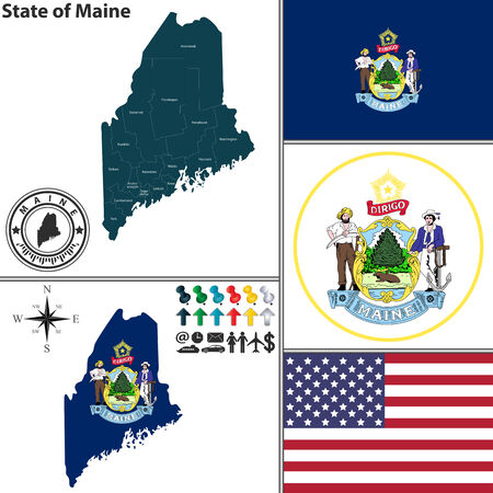 portland: Vector set of Maine state with flag and icons on white background Illustration