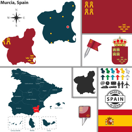 murcia: map of region of Murcia with coat of arms and location on Spanish map
