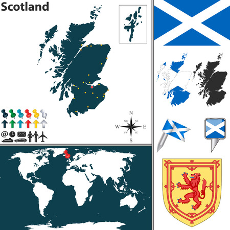 scots: map of Scotland with coat of arms and location on world map