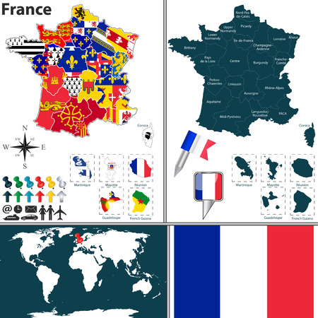 Vector map of France with regions with flags and location on world map. Vector
