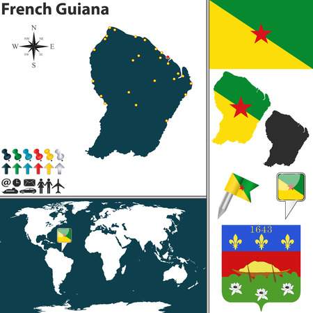 french guiana: Vector map of French Guiana with coat of arms and location on world map Illustration