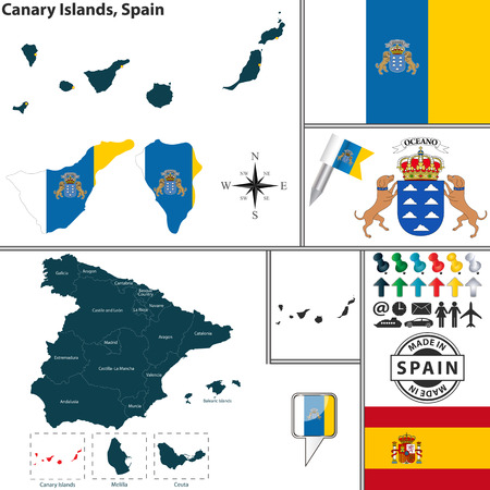 canary islands: Vector map of region of Canary Islands with coat of arms and location on Spanish map