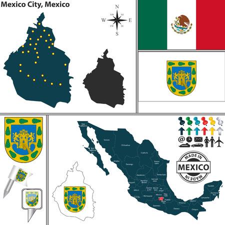 멕시코지도에 팔의 코트와 위치와 연방 지구 멕시코 시티의 벡터지도 스톡 콘텐츠 - 32099014