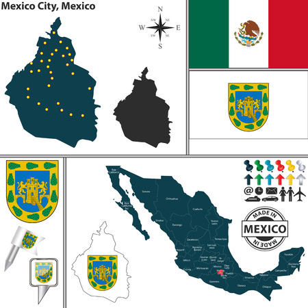 city coat of arms: Vector map of federal district Mexico City with coat of arms and location on Mexico map