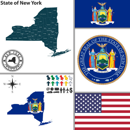 albany: Vector set of New York state with flag and icons on white background Illustration