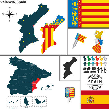 Vector map of region of Valencia with coat of arms and location on Spanish map Vector