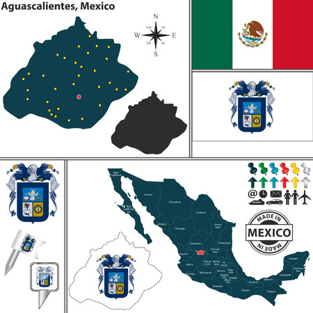 mexico flag: Vector map of state Aguascalientes with coat of arms and location on Mexico map