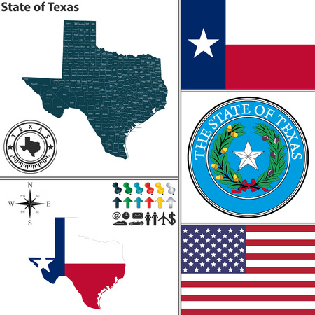 tx: Vector set of Texas state with seal, coat of arms and icons on white background Illustration
