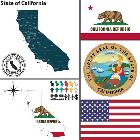Vector set of California state with seal and icons on white background
