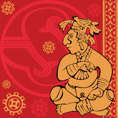 toltec: Vector of banner with ancient American ornaments