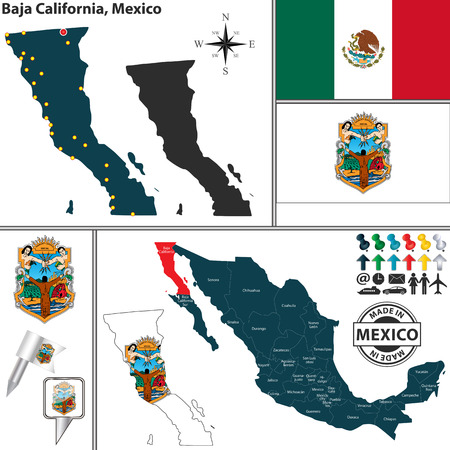 mexico map: Vector map of state Baja California with coat of arms and location on Mexico map