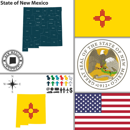 Vector set of New Mexico state with seal and icons on white background Illustration