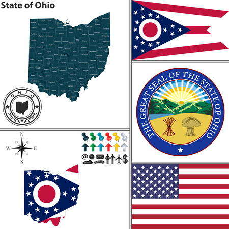 ohio: Vector set of Ohio state with seal and icons on white background
