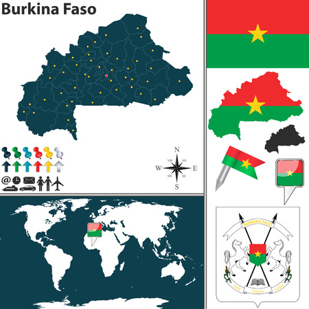 burkina faso: Vector map of Burkina Faso with regions, coat of arms and location on world map Illustration