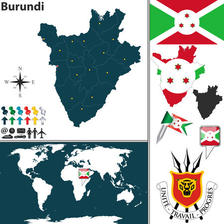 burundi: Vector map of Burundi with regions, coat of arms and location on world map