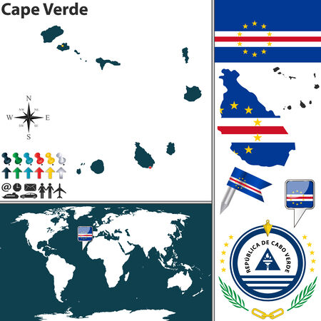 praia: Vector map of Cape Verde with coat of arms and location on world map