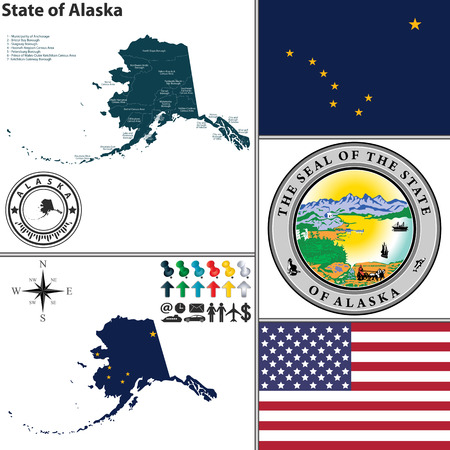 alaskabo: Vektor uppsättning Alaska stat med tätning och ikoner på vit bakgrund