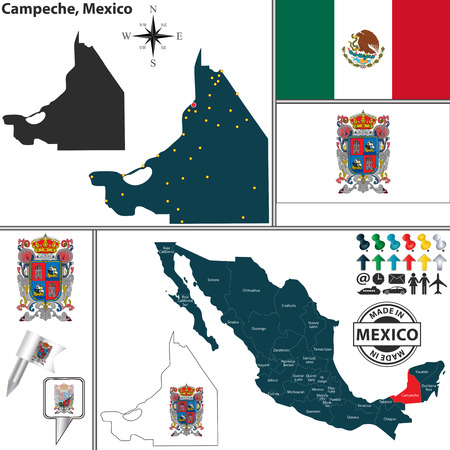 StateCampeche の紋章とメキシコ マップ上の位置のベクトル地図