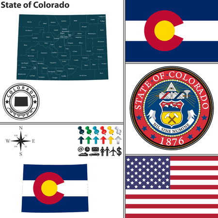 Vector set of Colorado state with seal, flag and icons on white background Illusztráció