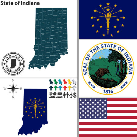 Vector set of Indiana state with seal, flag and icons on white background Illustration