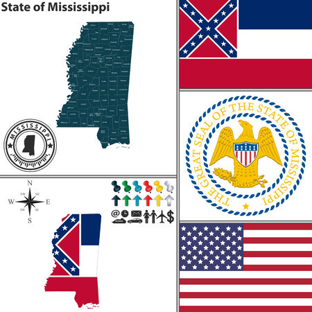 ms: Vector set of Mississippi state with flag and icons on white background